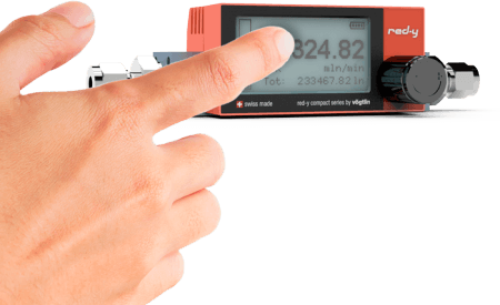 Battery Powered Digital Mass Flow Meters for Gases red-y compact series with touch display