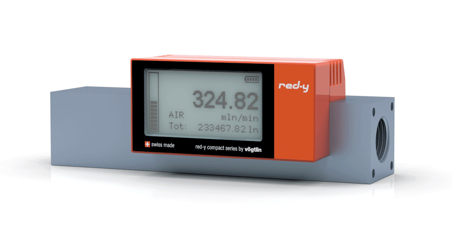 """Battery Powered Digital Mass Flow Meters for Gases red-y compact series G1/2"""" Alu version"""