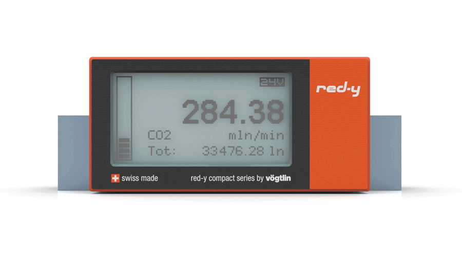 Battery Powered Digital Mass Flow Meters for Gases red-y compact series Front View